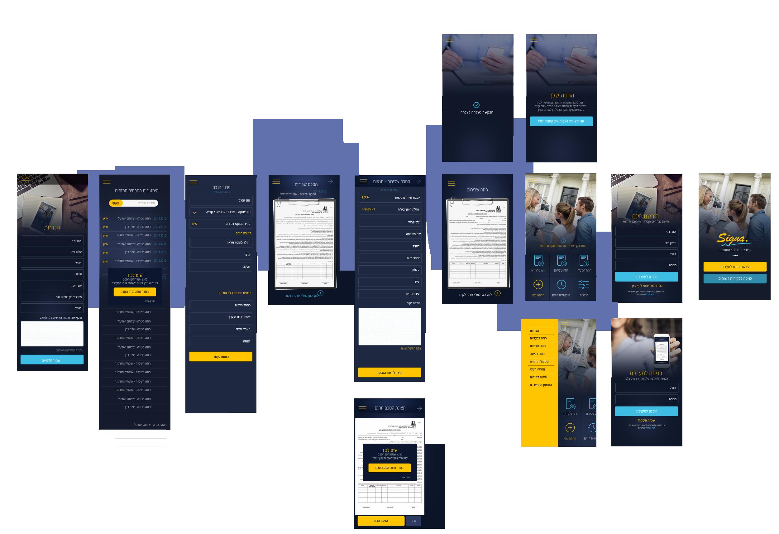 פריסת מסכים של תהליך אפיון אפליקציה